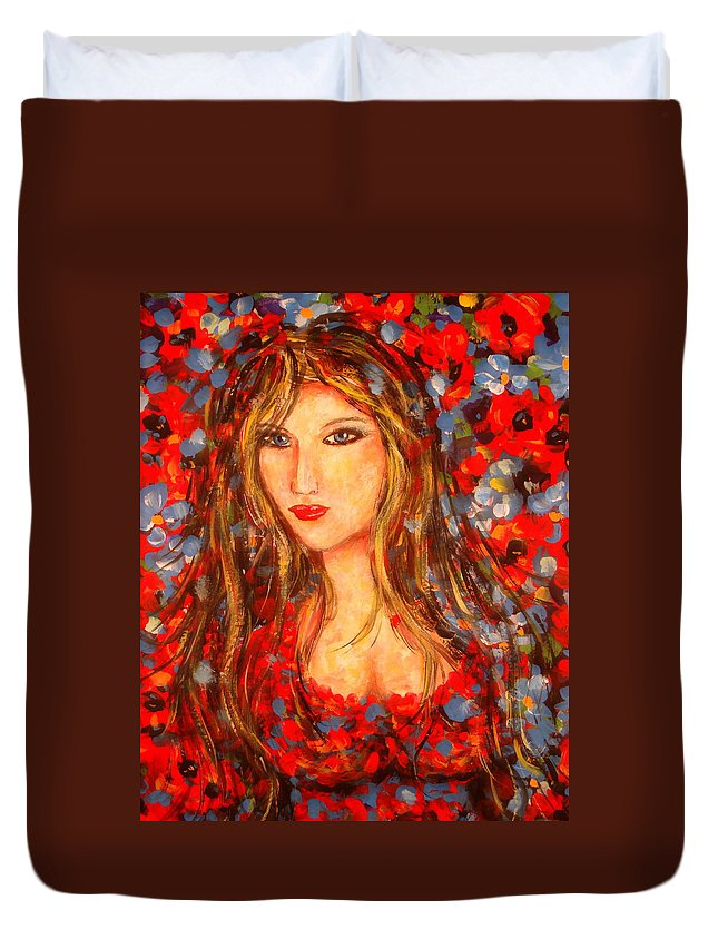 Portrait Duvet Cover featuring the painting Valentina by Natalie Holland