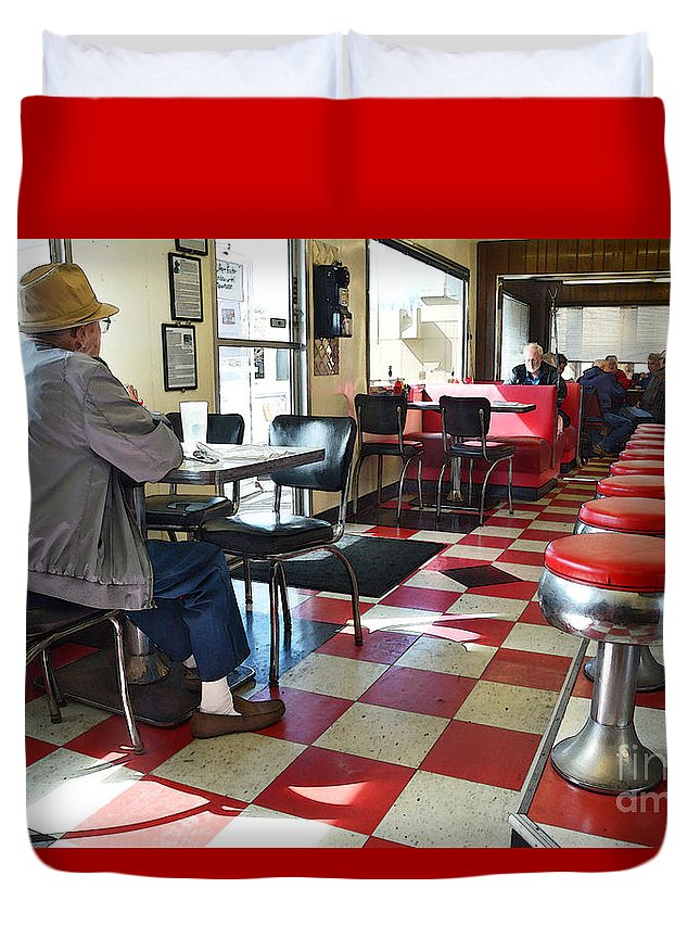 Valentine Duvet Cover featuring the photograph Valentine Diner Interior by Catherine Sherman