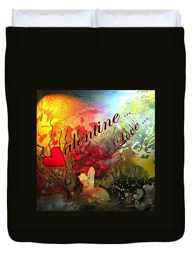 Valentine Duvet Cover featuring the painting Valentine by Miki De Goodaboom