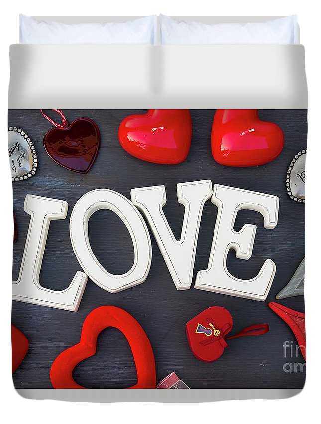 Valentines Duvet Cover featuring the photograph Valentines Day Hearts by Anastasy Yarmolovich