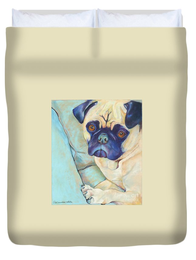 Pug Duvet Cover featuring the pastel Valentino by Pat Saunders-White
