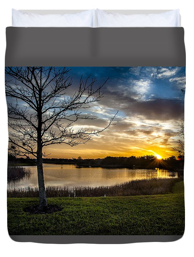 Sunrise Duvet Cover featuring the photograph Valhalla Sunrise by Norman Johnson