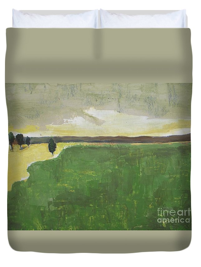 Landscape Duvet Cover featuring the painting Valley Carpet by Valley Carpet