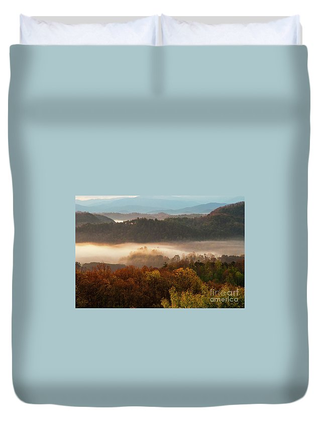 Foothills Parkway Duvet Cover featuring the photograph Valley Fog At Sunrise One by Bob Phillips