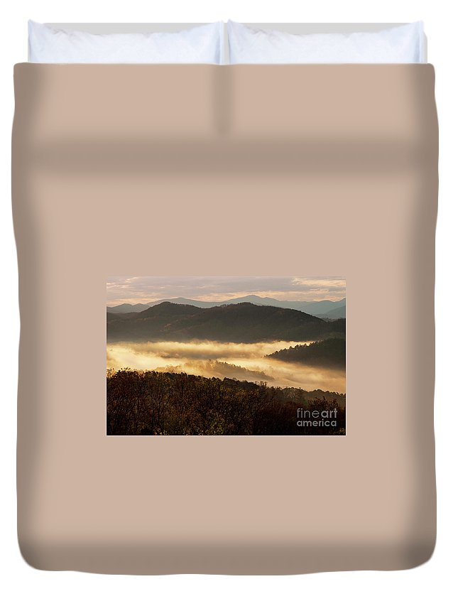 Foothills Parkway Duvet Cover featuring the photograph Valley Fog At Sunrise Two by Bob Phillips