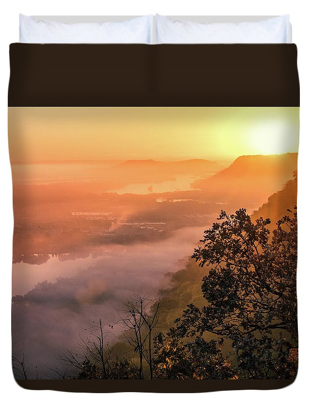 Landscape Duvet Cover featuring the photograph Valley Fog Sunrise by Kara Taylor