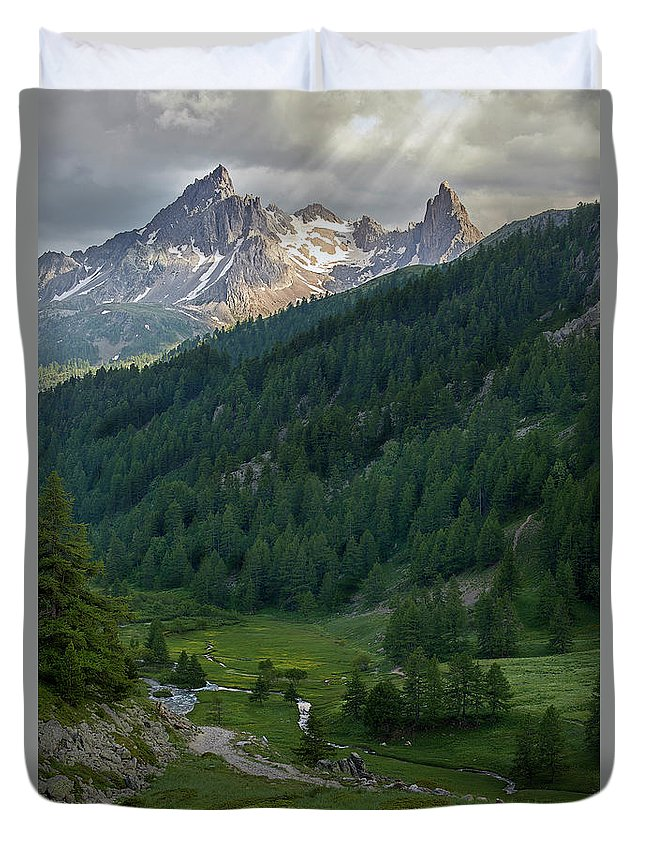 Hautes-alpes Duvet Cover featuring the photograph Valley In The French Alps by Jon Glaser