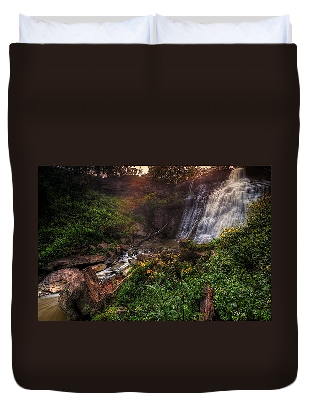 Waterfalls Duvet Cover featuring the photograph Valley Of Golden Light by Neil Shapiro