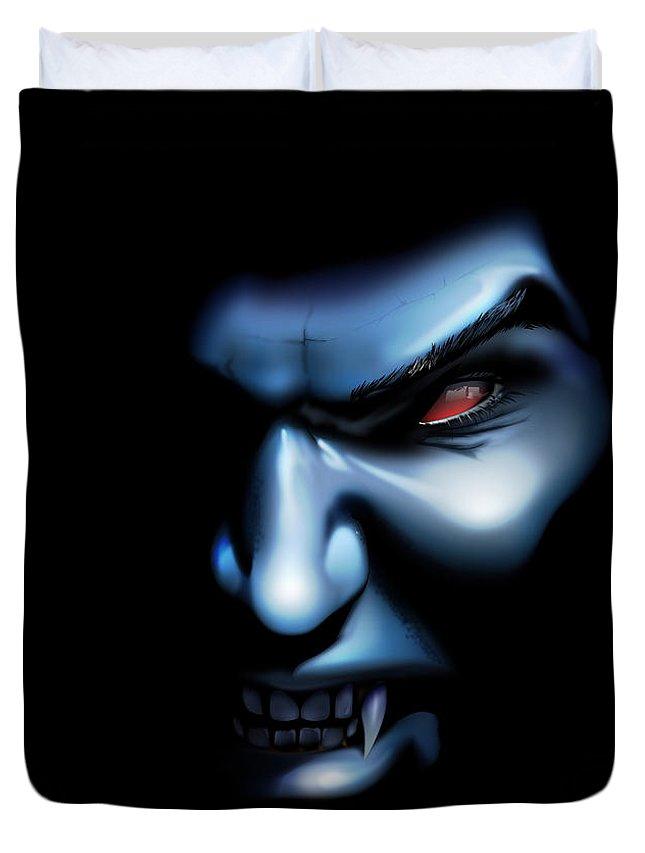 Vampire Duvet Cover featuring the digital art Vampires Rage by Brian Gibbs