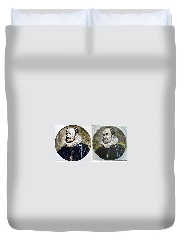 Van Dyck Duvet Cover featuring the painting Van Dyck Nicholas Rockox by Richard Le Page