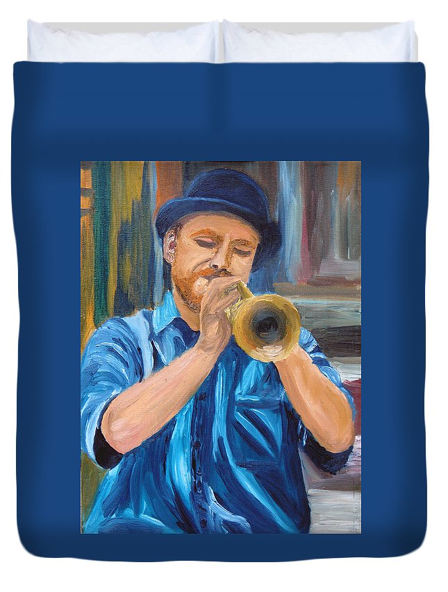 Musician Duvet Cover featuring the painting Van Gogh Plays The Trumpet by Michael Lee
