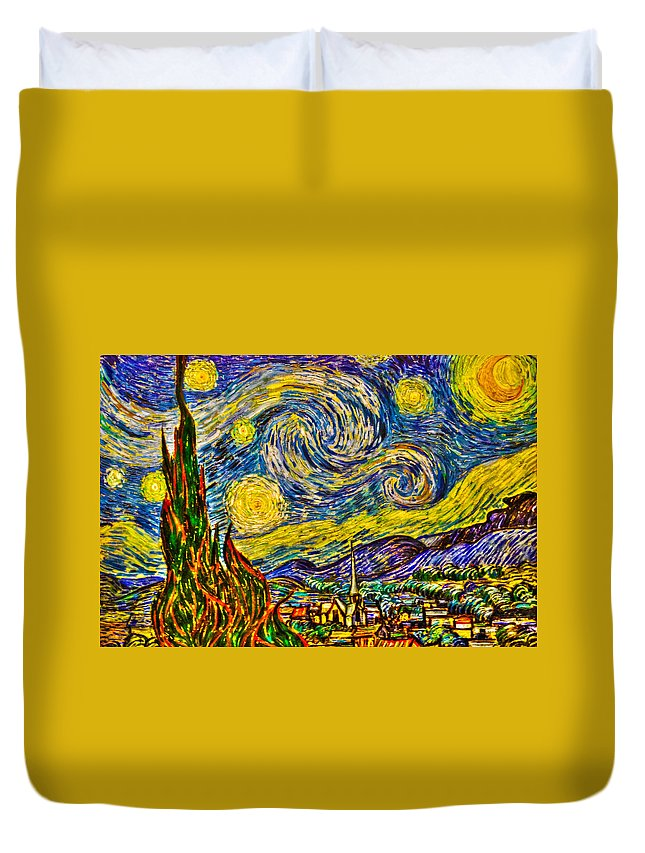 Art Duvet Cover featuring the photograph Van Gogh's 'starry Night' - Hdr by Randy Aveille