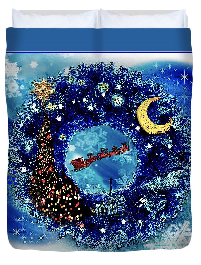 Vincent Duvet Cover featuring the drawing Van Gogh's Starry Night Wreath by Jose A Gonzalez Jr
