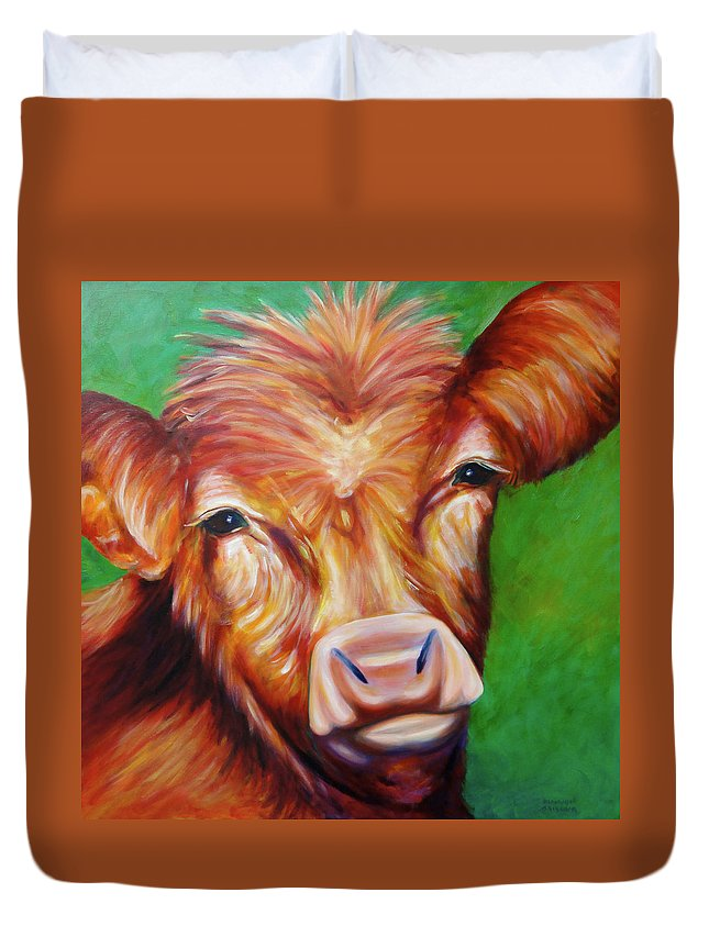 Bull Duvet Cover featuring the painting Van by Shannon Grissom