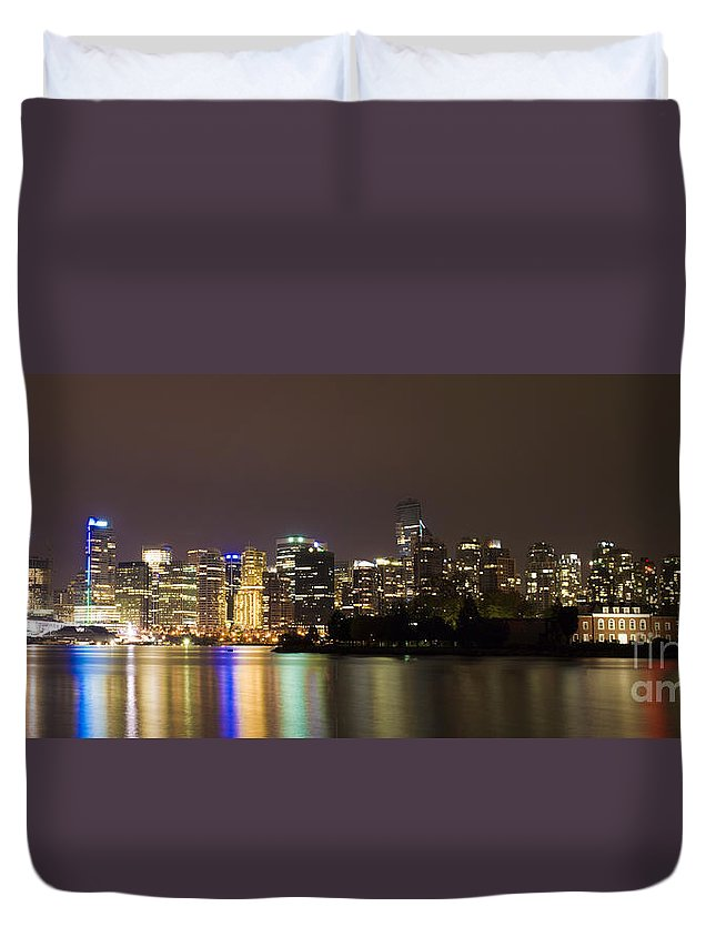 Vancouver Duvet Cover featuring the photograph Vancouver By Night by Louise Magno