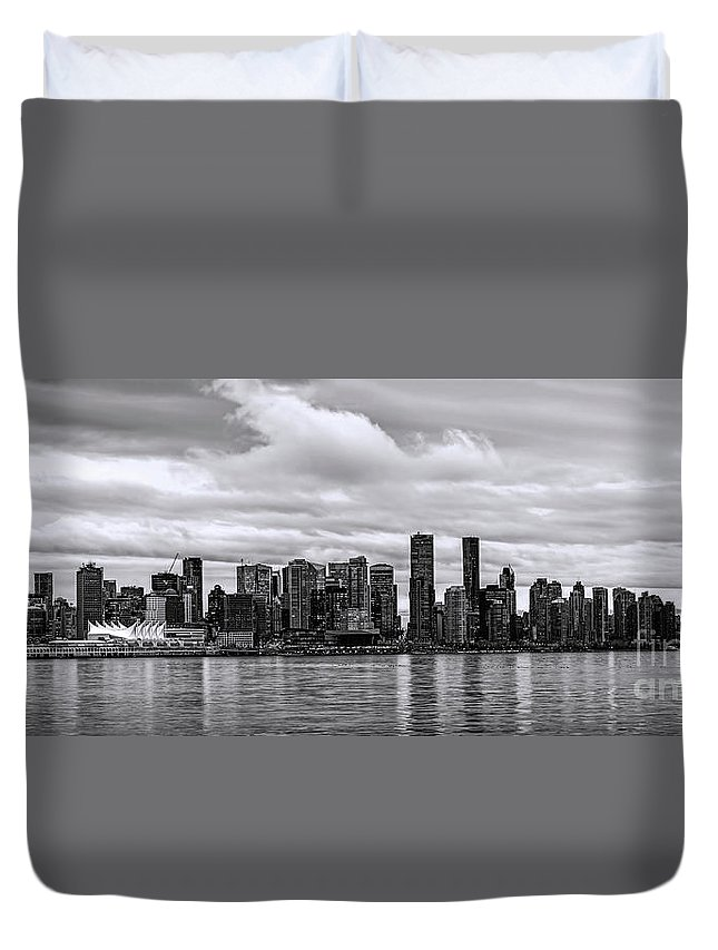 Vancouver Duvet Cover featuring the photograph Vancouver In Black And White. by Viktor Birkus