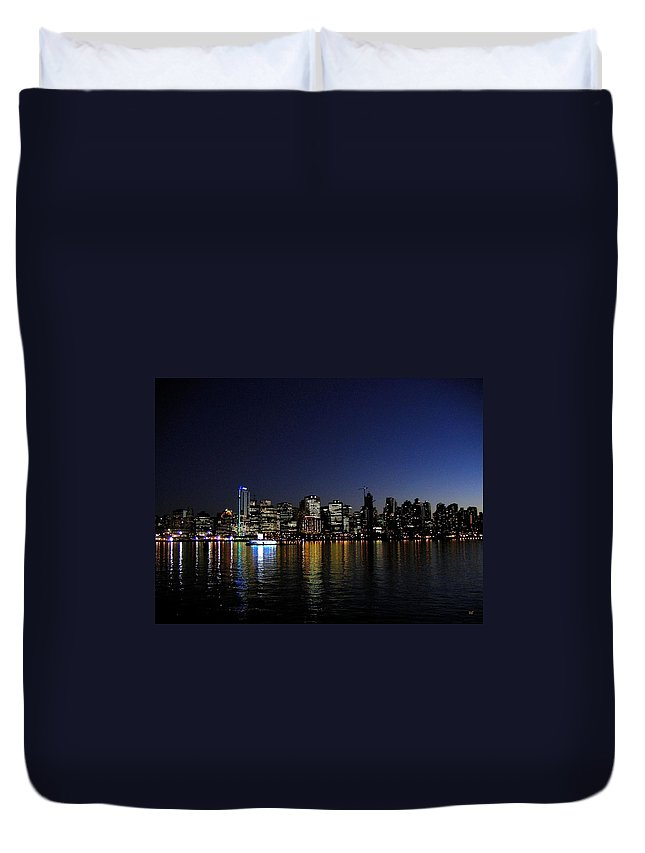 Night Scape Duvet Cover featuring the photograph Vancouver Night Lights by Will Borden