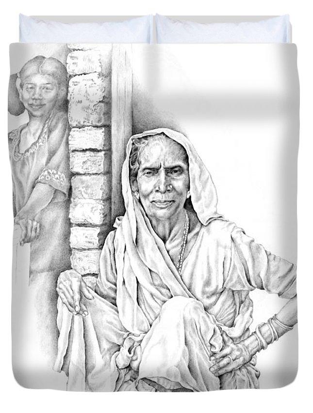 Drawing Duvet Cover featuring the drawing Varanasi Woman by Karla Beatty