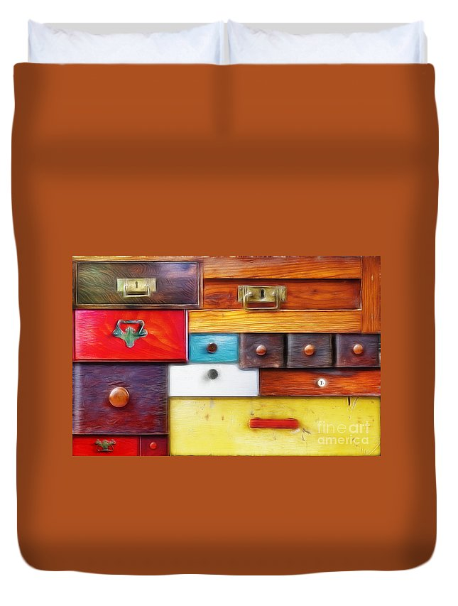 Abstract Duvet Cover featuring the digital art Various Old Drawers - In Utter Secrecy by Michal Boubin