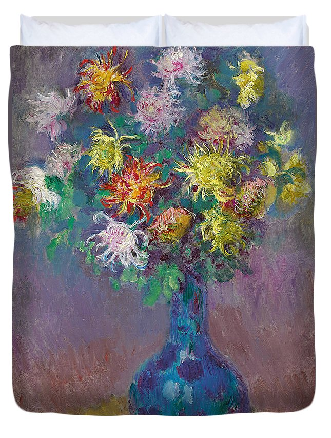 Claude Monet Duvet Cover featuring the painting Vase Of Chrysanthemums by Claude Monet
