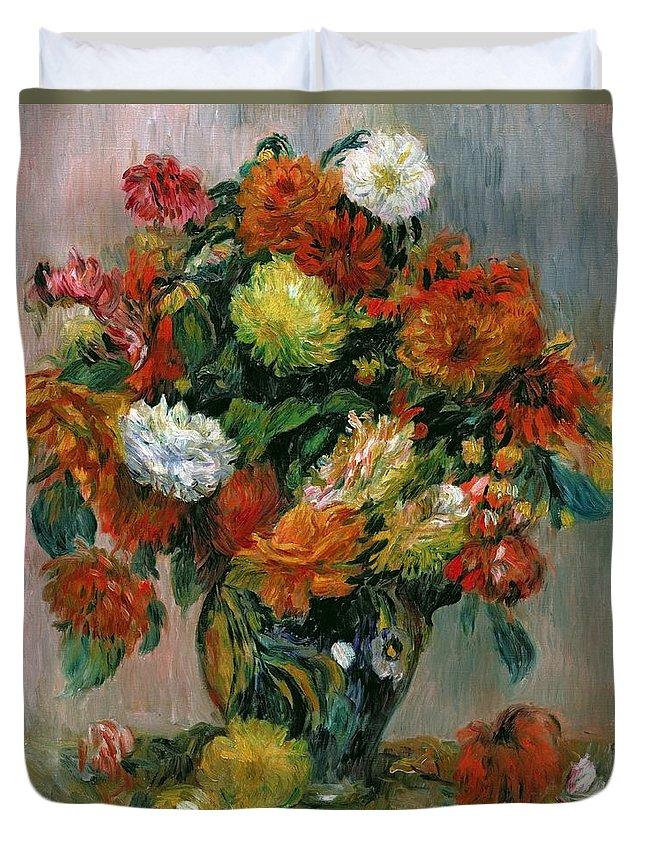 Vase Duvet Cover featuring the painting Vase Of Flowers by Pierre Auguste Renoir