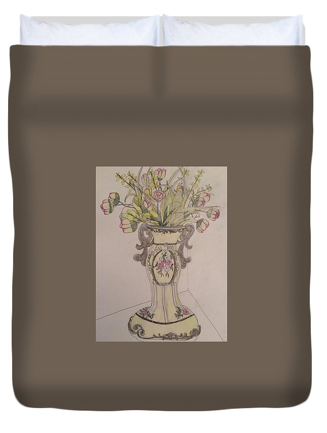 Vase. Still Life. Colored Pencil. Drawing. Duvet Cover featuring the drawing Vase by Raymond Samuel