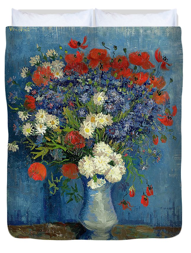 Still Duvet Cover featuring the painting Vase with Cornflowers and Poppies by Vincent Van Gogh