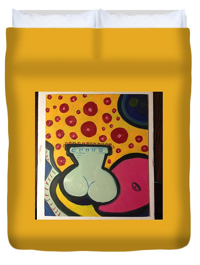 Vase Flowers Bottom Face Concept Modern Duvet Cover featuring the painting Vase With Flowers by Costin Tudor