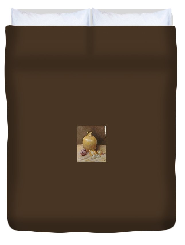 Still Life Duvet Cover featuring the painting Vase With Onion by Pat Snook