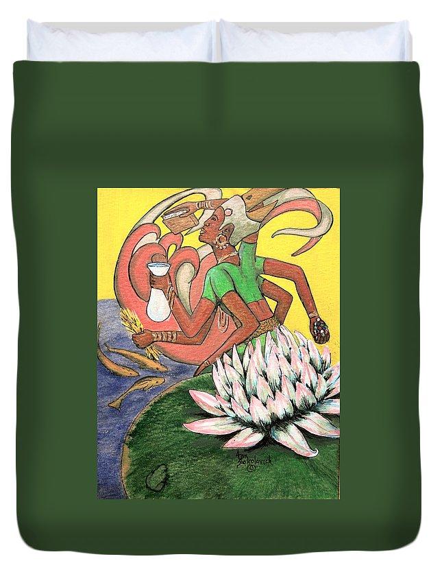 Godess Duvet Cover featuring the painting Vasudhara by Ann Sokolovich