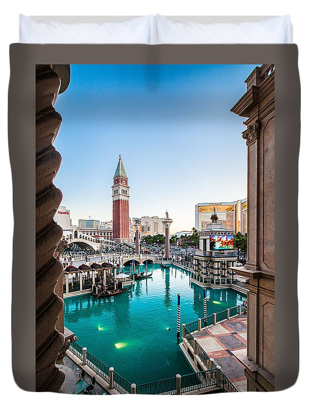Travel Photography Duvet Cover featuring the photograph Vegas #3 by Alex Kotlik