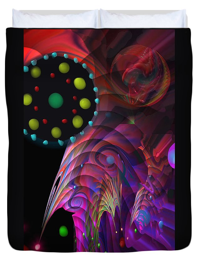 Planets Duvet Cover featuring the painting Vegas Dreams by Kevin Caudill