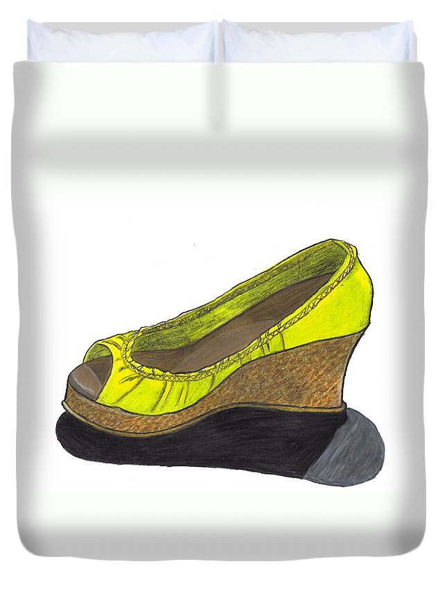 Shoe Duvet Cover featuring the drawing Vegas Shoes by Jean Haynes
