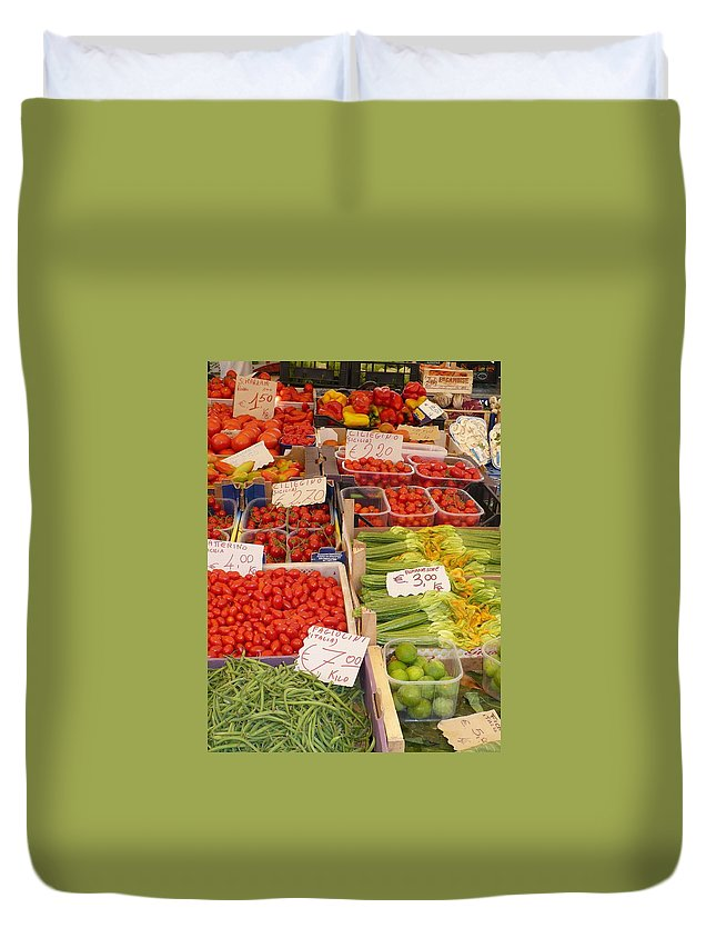 European Markets Duvet Cover featuring the photograph Vegetables At Italian Market by Carol Groenen
