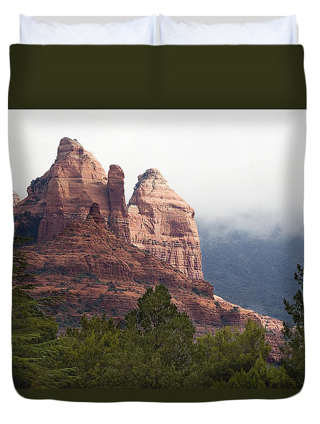 Mountains Duvet Cover featuring the photograph Veiled In Clouds by Phyllis Denton