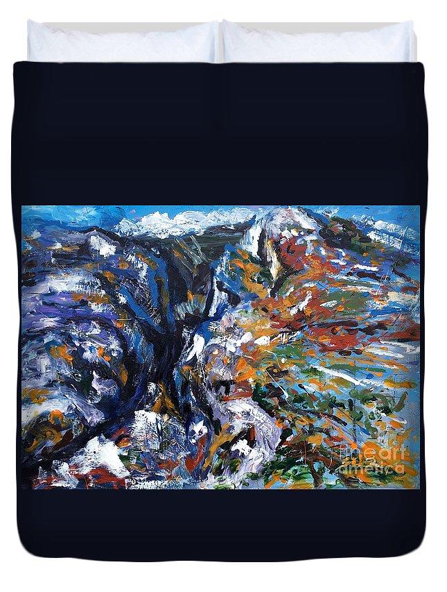 Canyon Duvet Cover featuring the painting Velebit Paklenica Canyon by Lidija Ivanek - SiLa