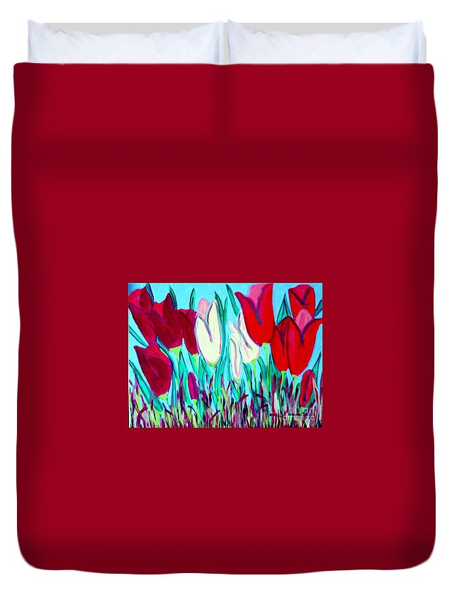 Tulips Duvet Cover featuring the painting Velvet Tulips by Laurie Morgan