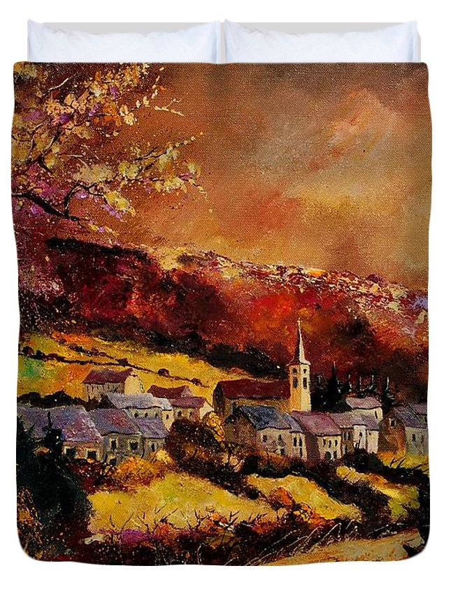 River Duvet Cover featuring the painting Vencimont Village Ardennes by Pol Ledent
