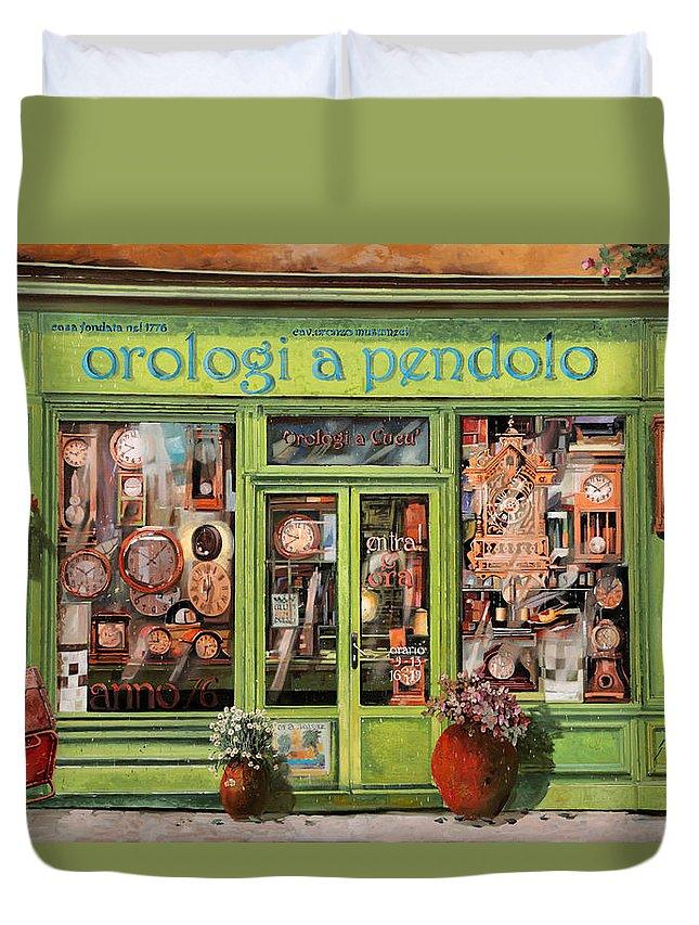 Clock Shop Duvet Cover featuring the painting Vendita Di Orologi A Dondolo by Guido Borelli