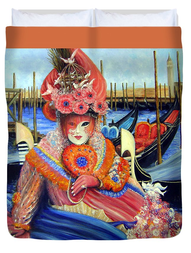 Venice Duvet Cover featuring the painting Venetian Carneval Mask With Bird Cage by Leonardo Ruggieri