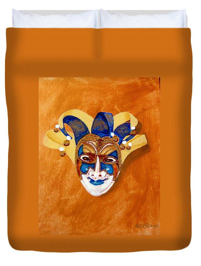 Mask Duvet Cover featuring the painting Venetian Mask 2 by Richard Le Page
