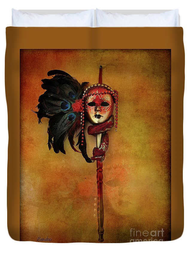 Carnival Mask Duvet Cover featuring the photograph Venetian Mask by Eena Bo