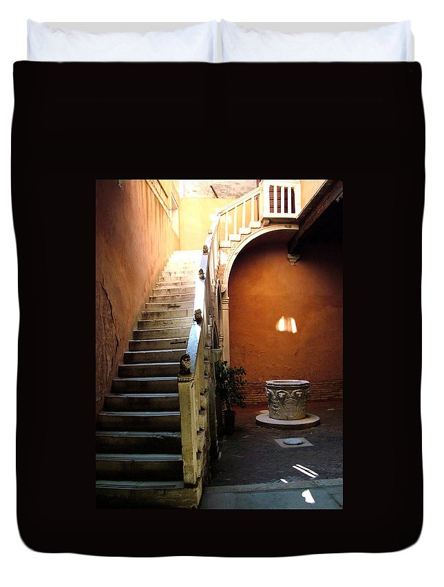 Architecture Duvet Cover featuring the photograph Venetian Stairway by Donna Corless