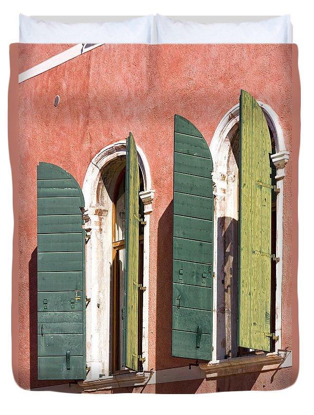 Europe Duvet Cover featuring the photograph Venetian Windows by Heiko Koehrer-Wagner