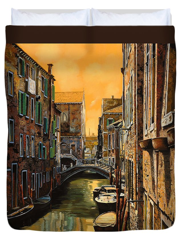 Venice Duvet Cover featuring the painting Venezia Al Tramonto by Guido Borelli