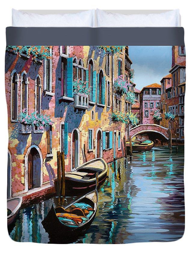 Venice Duvet Cover featuring the painting Venezia Tutta Rosa by Guido Borelli
