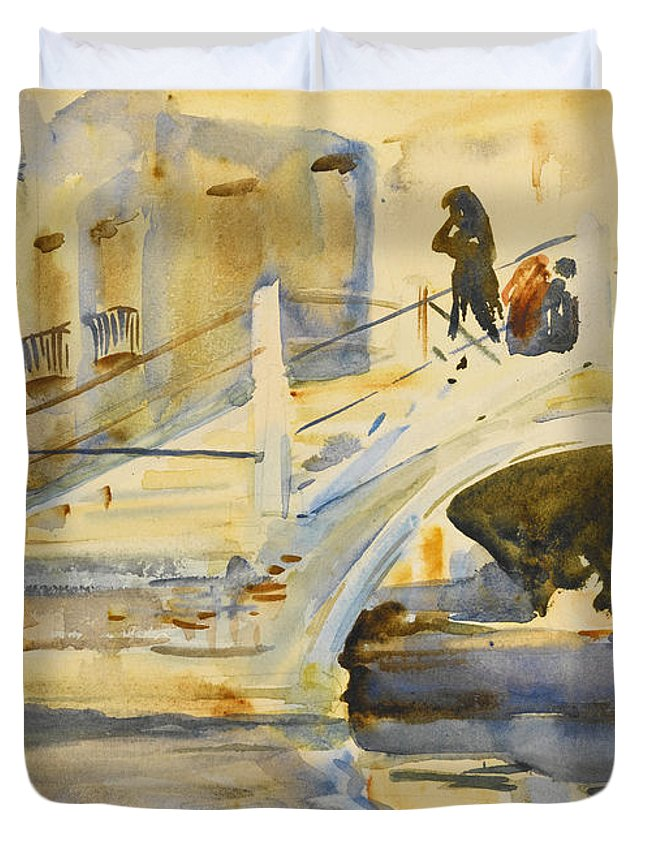 John Singer Sargent Duvet Cover featuring the drawing Venice. Bridge With Figures by John Singer Sargent