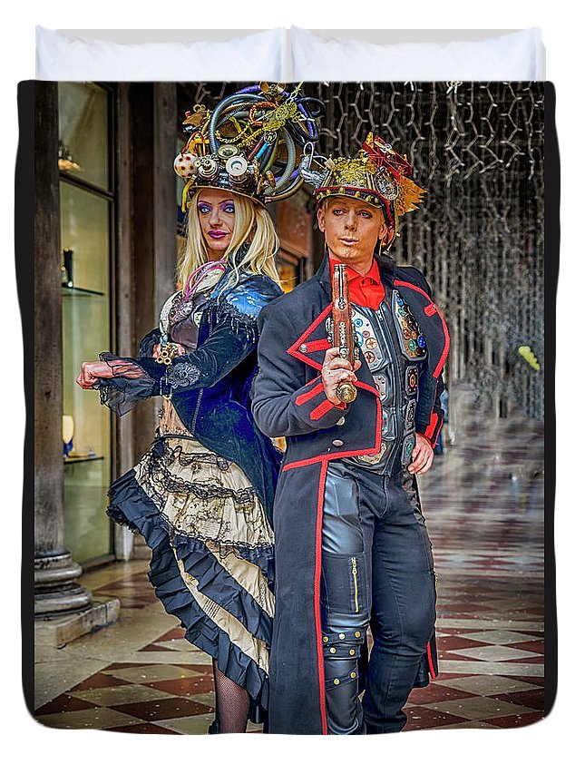 Europe Duvet Cover featuring the photograph Venice Carnival Characters_dsc1364_02282017 by Greg Kluempers