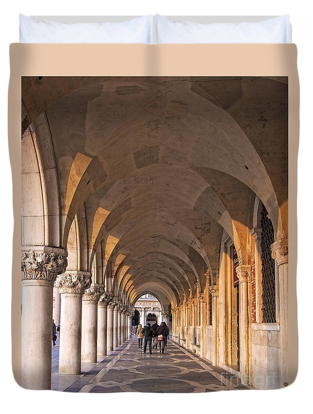 City Duvet Cover featuring the photograph Venice - Doge's Palace Arcade by Eden Breitz