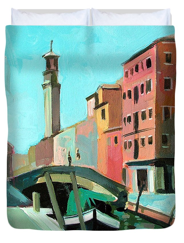 Landscape Duvet Cover featuring the painting Venice by Filip Mihail